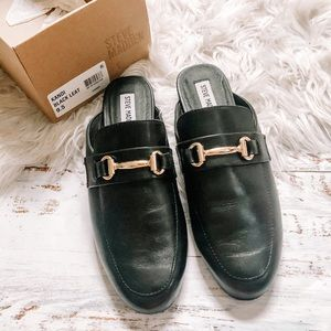 Steve Madden Kandi black mules with gold buckle